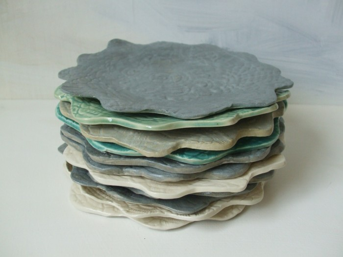 stacked scalloped plates